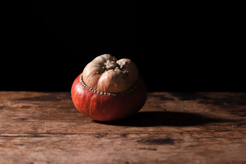 Gourd on wooden table