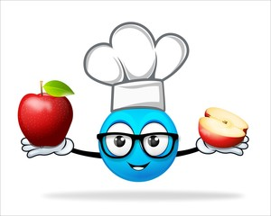 blue people chef with apple