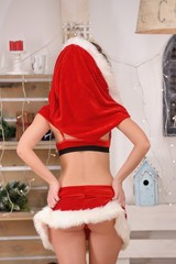 Sexy Santa girl raises a skirt with back view