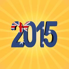 Australian flag 2015 text on sunburst illustration