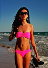 Sexy   Girl  In Bikini On The Beach