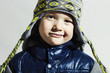 funny child.fashion kids.smiling little boy in winter color cap
