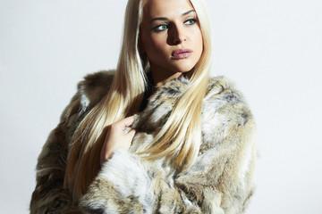 Beautiful Fashion Girl in Fur coat.Beauty Winter Young Woman