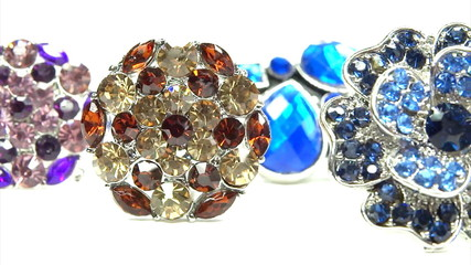 Precious silvery rings jewelery with gem crystals