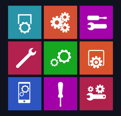 settings, configuration or preferences flat icons vector eps10