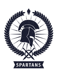 Spartans Emblem scratched vector illustration, eps10
