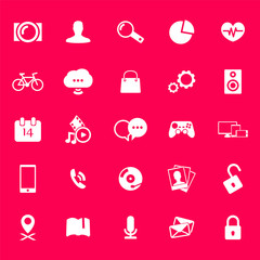 web, media 25 icons on purple vector illustration, eps10