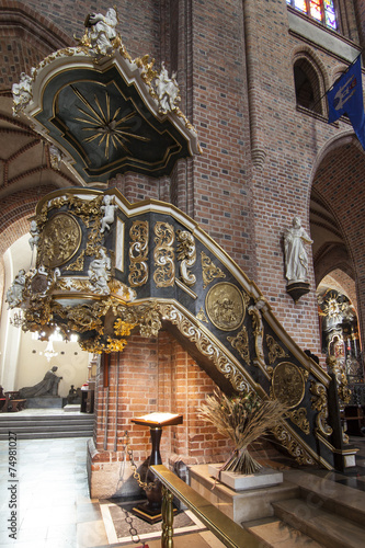 Historic pulpit in The Archcathedral Basilica in Poznan