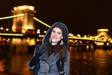 Woman in Budapest at night