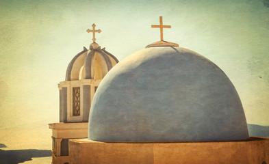 Vintage churches and panorama of Santorini island - Greece