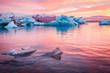 Leinwanddruck Bild - Iceland, Jokulsarlon Glacier Lagoon at sunset