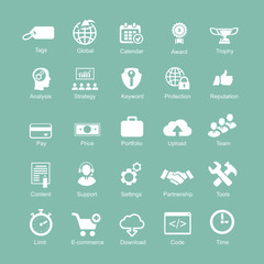 Set  silhouetted white SEO and internet icons for optimising a