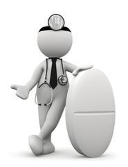 omino bianco medico con pastiglia