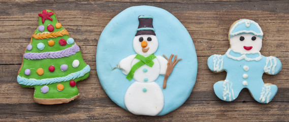 holiday cookie on rustic wooden background for the holidays