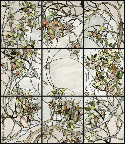 floral stained glass - 74983423