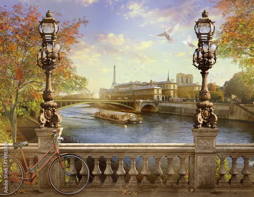 Foto op Plexiglas Bedehuis the Seine, Notre Dame de Paris,