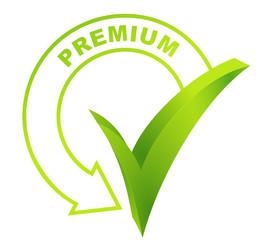 premium sur symbole validé vert