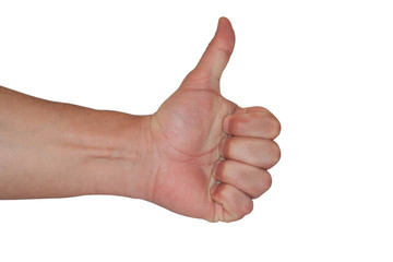 Isolated hand with thumb up