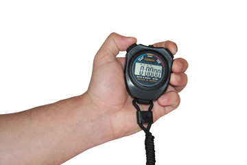 Digital stopwatch in the hand