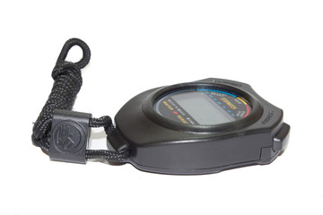 Digital stopwatch on the white background