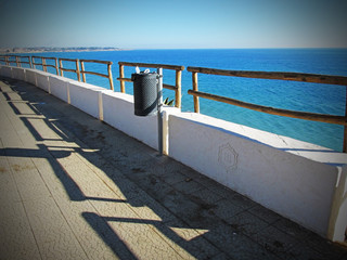 Waste bin with sea view
