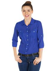 Portrait of a beautiful happy woman in blue shirt