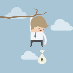 Businessman with money bag hanging on a branch