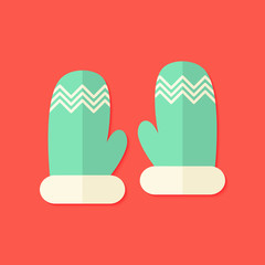 Christmas Winter Gloves Flat Icon