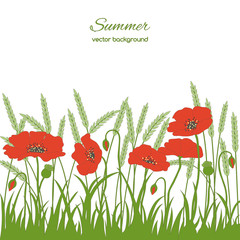 Spring card with grass and poppies