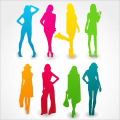 Colorful silhouettes of girls