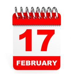 Calendar on white background. 17 February.
