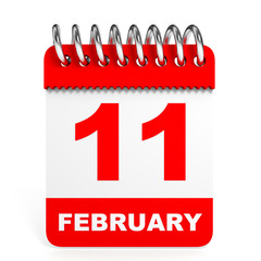 Calendar on white background. 11 February.