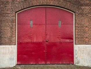 Red industrial doors