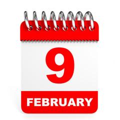 Calendar on white background. 9 February.