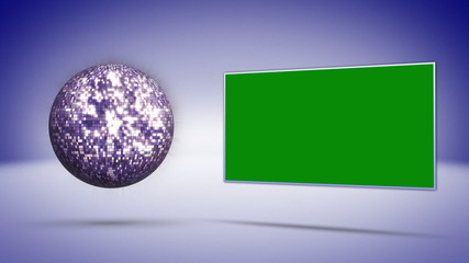 Green Screen Monitor and Blue Disco Ball