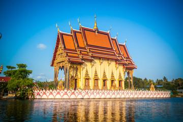 Buddhist pagoda, part of temple complex Wat Plai Laem in Samui