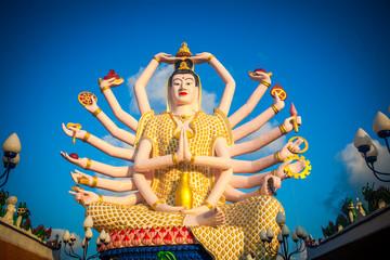 Statue of eighteen arms Buddha in Samui, Thailand