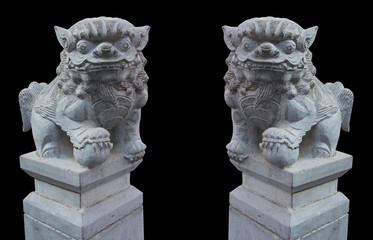 Couple Chinese Lion Stone With Clipping Path