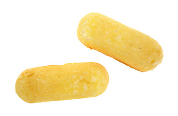Two crème filled fluffy cakes on a white background