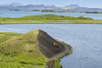 Pseudo craters at Skutustadir surrounding lake Myvatn, Iceland