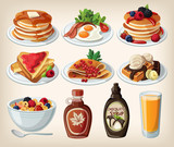Fototapety Classic breakfast cartoon set with pancakes, cereal, toasts and