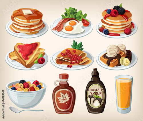 Classic breakfast cartoon set with pancakes, cereal, toasts and