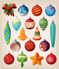 Set of vintage christmas balls. Colorful isolated icons.