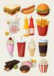 Set of colorful cartoon fast food icons. - 74989419