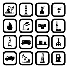 Oil and petroleum icon set.