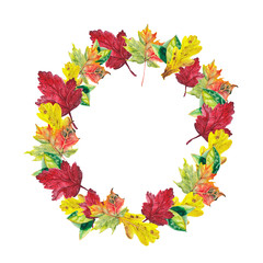 watercolor autumn leafs wreath