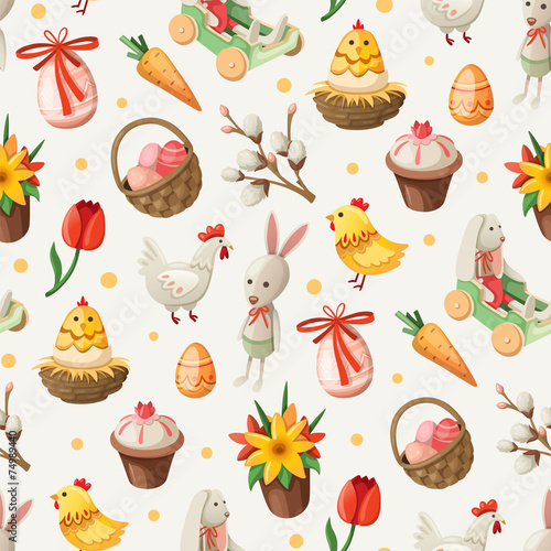Cotton fabric Easter pattern