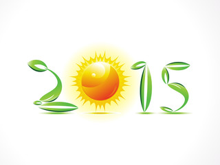 abstract eco green new year text with sun