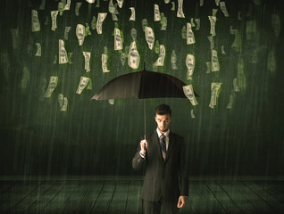 Businessman standing with umbrella in dollar bill rain concept