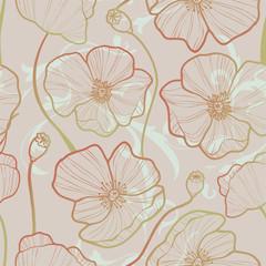 Elegance Seamless pattern with poppy,